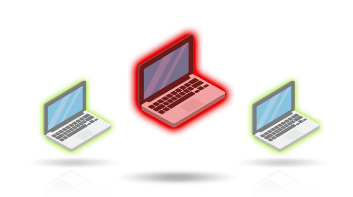 Three laptops under investigation. One in red, two in green.