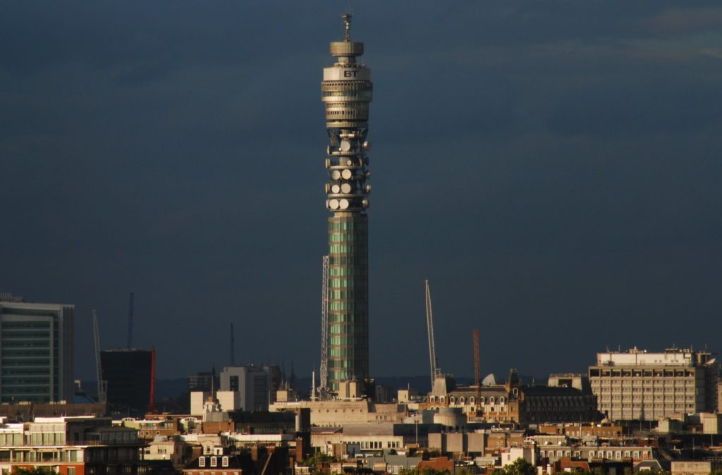 The BT Tower rises above the London Skyline